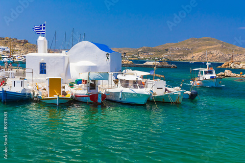 Naoussa town, Paros island, Cyclades, Aegean, Greece Canvas Print