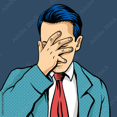Fotografie, Obraz  Vector man facepalm comic illustration