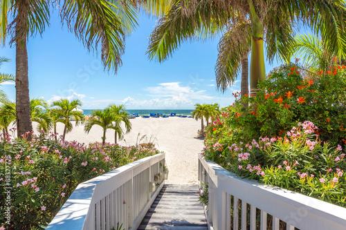 Boardwalk on beach in St. Pete, Florida, USA Wallpaper Mural