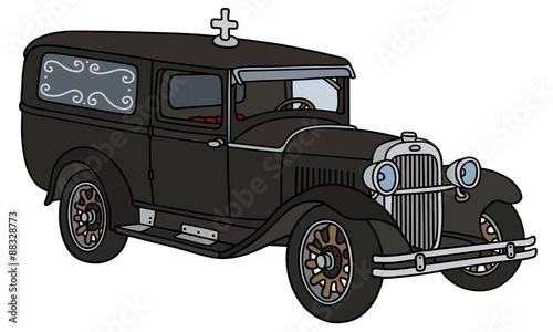 Fotografie, Obraz  Vintage funeral car / hand drawing, vector illustration