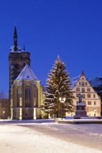 Schillerplatz With Stiftskirche, Christmas Tree And Schillerdenkmal, Stuttgart, Baden Wurttemberg, Germany