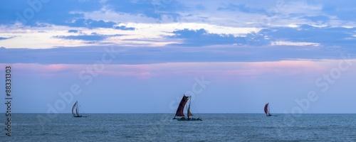 Negombo, traditional outrigger fishing boats (oruva) returning at sunrise to Negombo fishing market, Sri Lanka, Asia