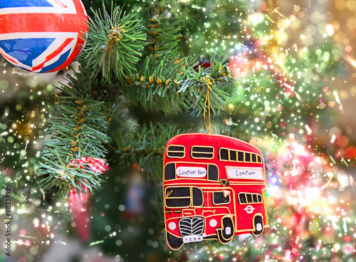 Türaufkleber London roten bus British style christmas tree