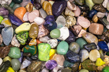 Natural Background - Pile Of Semi Precious Jewelery Stones Close