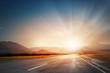 canvas print picture - Sunrise above road