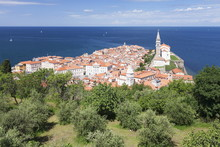 High Angle View Of The Old Town With Tartini Square, Townhall And The Cathedral Of St. George, Piran, Istria, Slovenia
