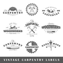 Set Of Vintage Labels Carpentry