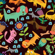Cartoon Seamless Pattern For Childish Designs.