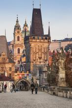 People Walking On Charles Bridge Toward Mala Strana Bridge Tower, Prague, Czech Republic