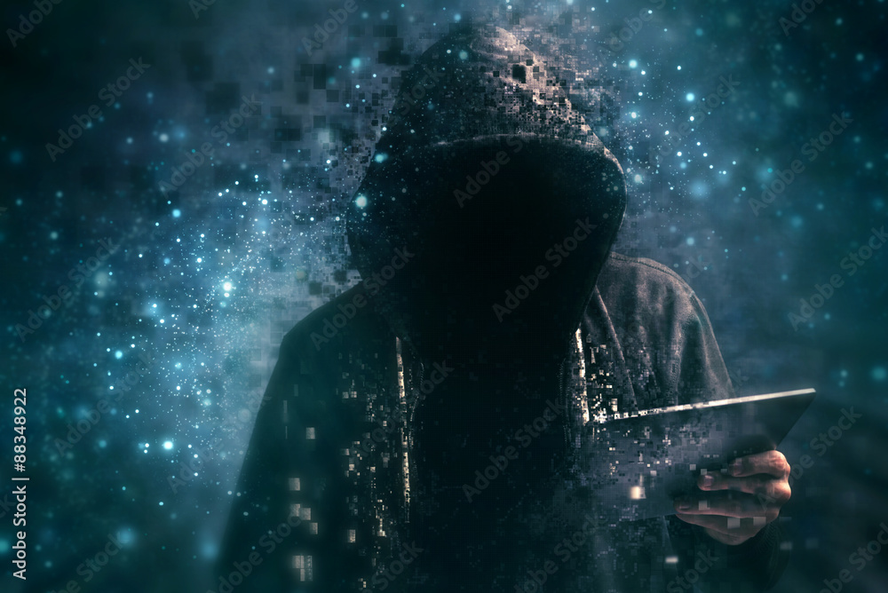 Fototapeta Pixelated unrecognizable hooded cyber criminal