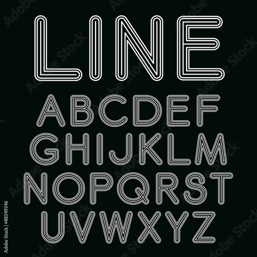 Vector linear font in mono line style  Sans serif font with