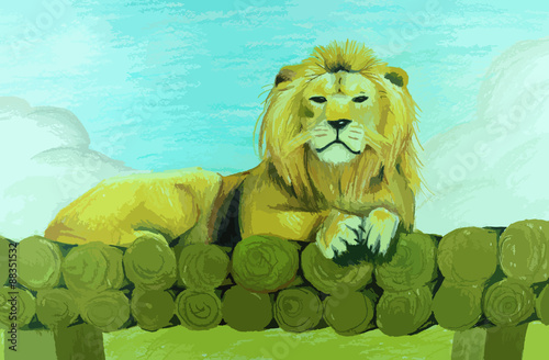 Lion sitting on pile of wood painting background - 88351532