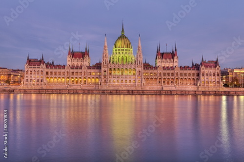 Hungarian Parliament Building and the River Danube at sunset, Budapest, Hungary, Poster