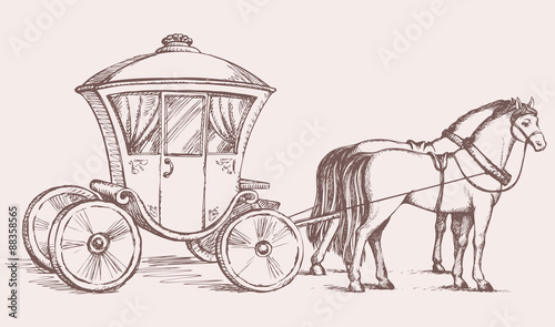 Valokuva  Carriage. Vector drawing