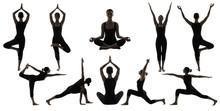 Silhouette Yoga Poses On White, Woman Asana Position Exercise