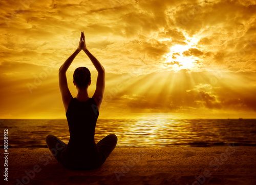 Yoga Meditation Concept, Woman Silhouette Meditating in Healthy Wallpaper Mural