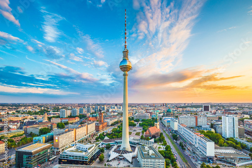 Garden Poster Berlin Berlin skyline panorama with TV tower at sunset, Germany