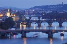 Bridges Over The Vltava River Including Charles Bridge, And Old Town With Old Town Bridge Tower, Prague, Bohemia, Czech Republic