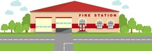 Fire Station Concept. Panoramic Background With Fire Station Building In Flat Style.