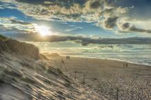 Backlight Of The Long Sandy Beach In The Prince Edward Island National Park, Prince Edward Island, Canada