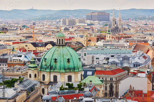 Vászonkép Aerial view of city center of Vienna