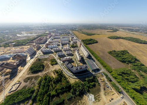 Foto op Plexiglas Xian Aerial view of downtown. Crossroads, houses, buildings and parks