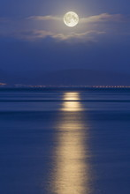 Full Moon Over The Mumbles, Swansea, Wales