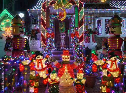 Christmas outdoor christmas decorations snowman and nutcracker christmas outdoor christmas decorations snowman and nutcracker lights up house in brooklyn new york aloadofball Image collections
