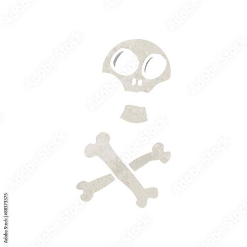 Printed kitchen splashbacks Watercolor skull retro cartoon skull and crossbones symbol