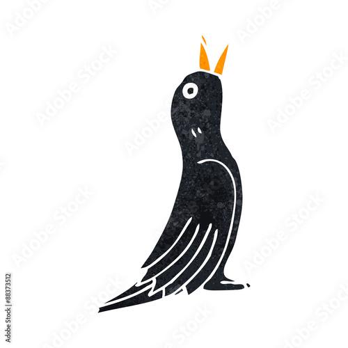 retro cartoon singing blackbird Wallpaper Mural