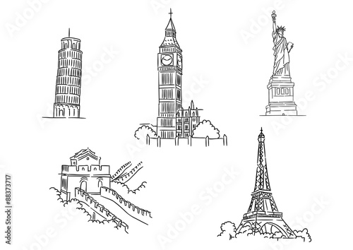 Foto  Set of famous world landmarks