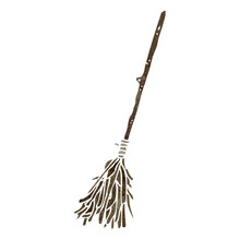 Retro Cartoon Magic Broom