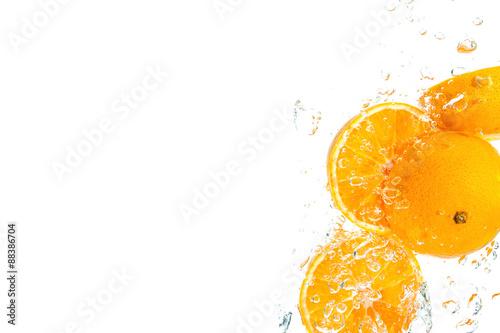 Poster Eclaboussures d eau Orange