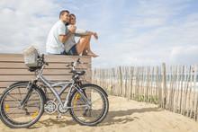 Loving Couple Looking Ocean