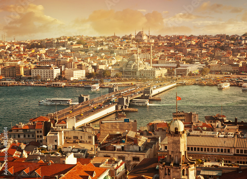 Istanbul at sunset, view of the city. Beautiful cityscape Poster