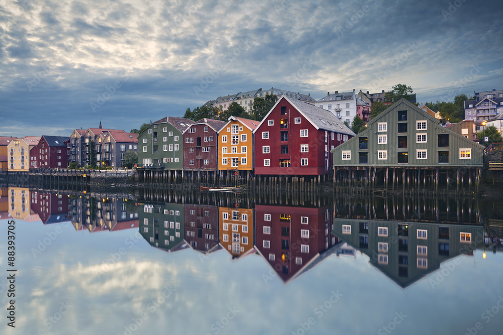 Fototapety, obrazy: Trondheim. Image of norwegian city of Trondheim during twilight blue hour.