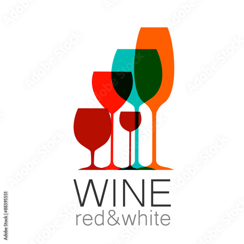 wine red white template logo - 88395551