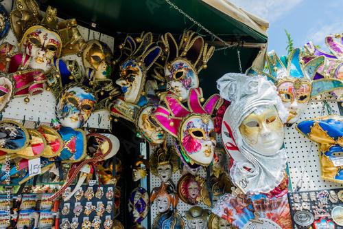 Deurstickers Graffiti collage Various venetian masks on sale . colorful artistic masks on the
