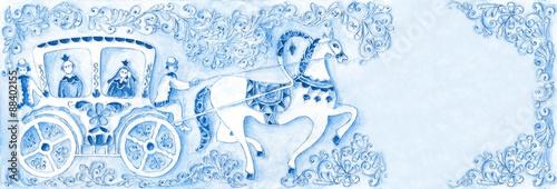 Cuadros en Lienzo Illustration for the fairy tale, watercolor. Performed in