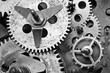 Black white Cogwheels Clockwork. Macro