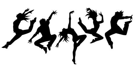 Fototapeta Taniec / Balet ダンサー5人横並べ(シルエット)