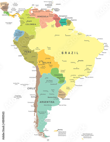 Fotografía  South America map - highly detailed vector illustration.