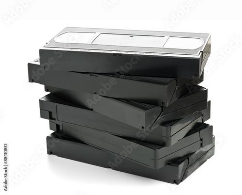 Valokuvatapetti Stack of video home system movie cassettes