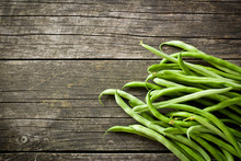 Green Beans On Old Table