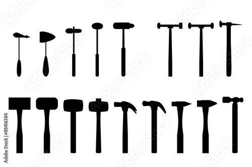Obraz na płótnie Set of reflex hammer and home hammer in silhouette icon