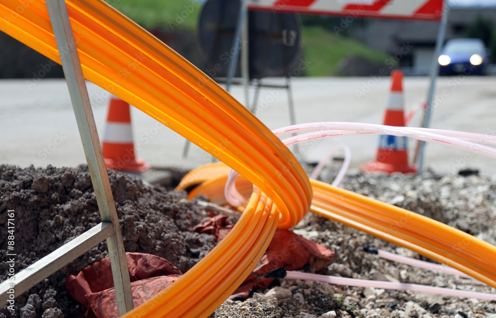 Fototapety, obrazy: road excavation for the laying of optical fiber for high speed i