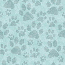 Blue Dog Paw Prints Tile Patte...
