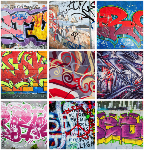 Deurstickers Graffiti collage Graffitis