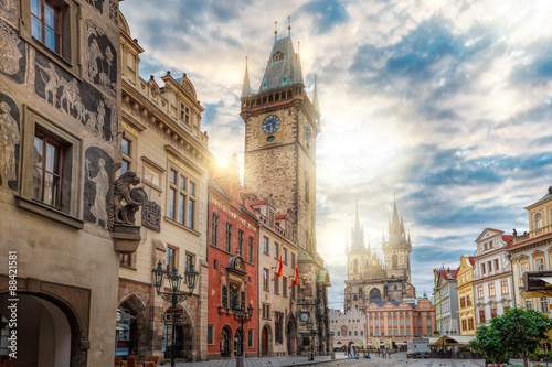 Staande foto Praag Sunrise on Old Town Square Prague/The historic center of Prague, ancient architecture, and cultural heritage