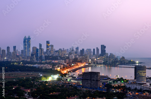 Aerial Mumbai by night Canvas Print